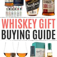 vertical collage of whiskey gift ideas with article name