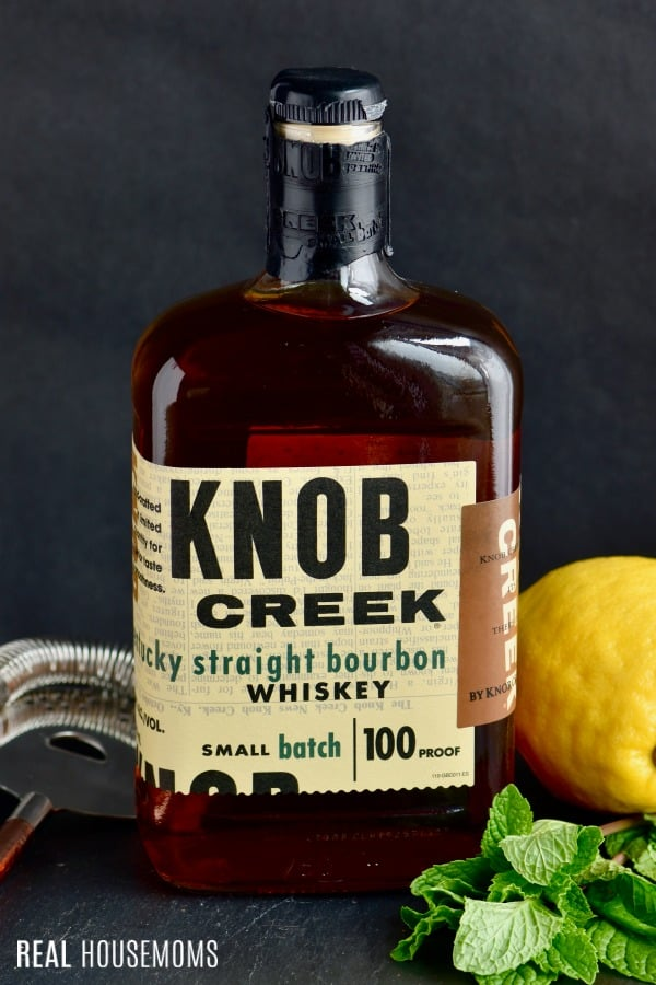 Bottle of Knob Creek bourbon to make a Whiskey Smash Cocktail