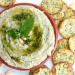 Creamy WHITE BEAN HUMMUS is made with fresh basil for a light summer flavor!