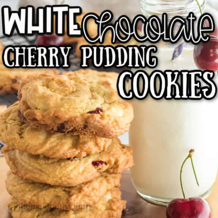 square image White Chocolate cherry pudding cookies