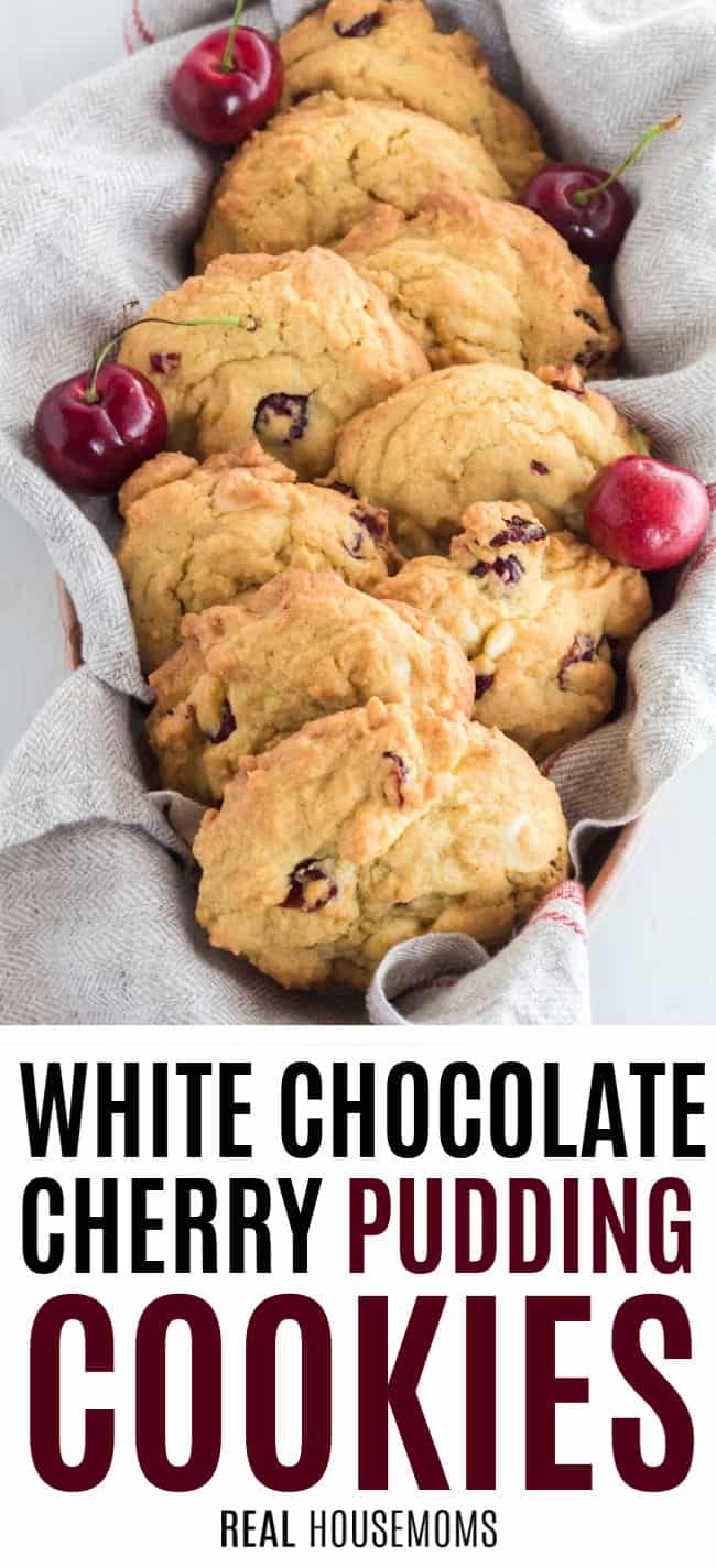 white chocolate cherry cookies piled in a basket