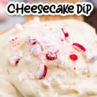 on pic collage of White Chocolate peppermint cheesecake dip, photo of dip in a white bowl surrounded by cookies