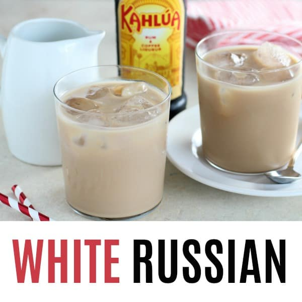 square image of white russian cocktail with text