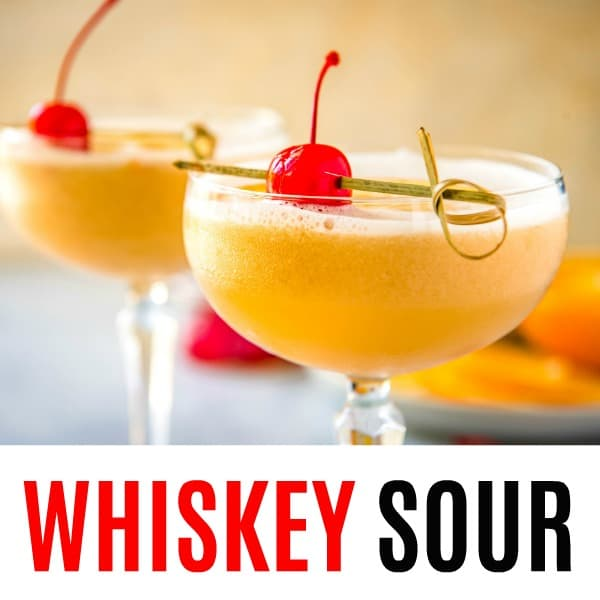 square image of whiskey sour with text