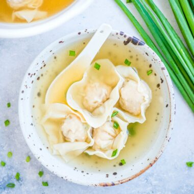 Wonton Soup is really satisfying and comforting. Succulent wontons are filled with a pork and shrimp mixture and then covered in a flavorful clear broth!