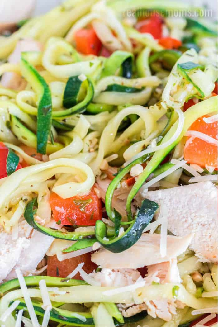 close up of cooked zoodles in a bowl