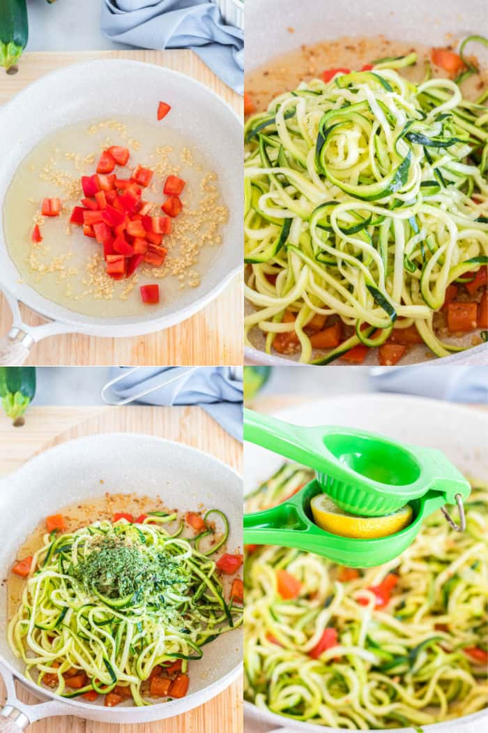 garlic and red bell pepper in oil in a skillet, zoddles being added to skillet, zoodles in skillet with dried herbs on top, lemon being squeezed over cooked zoodles