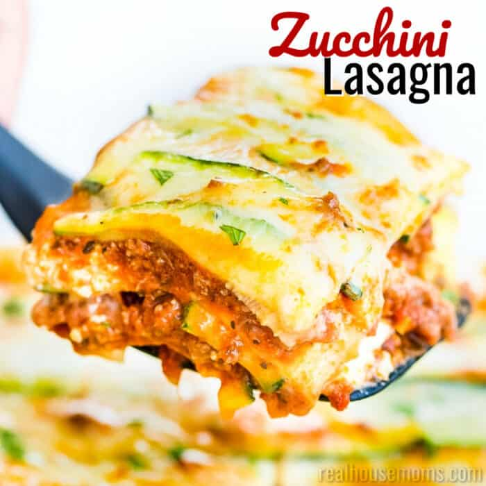 square image of zucchini lasagna with text