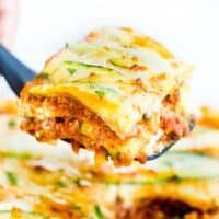 Zucchini Lasagna made with zucchini slices instead of pasta sheets, beef sauce, ricotta, and mozzarella cheese is low carb and gluten free!
