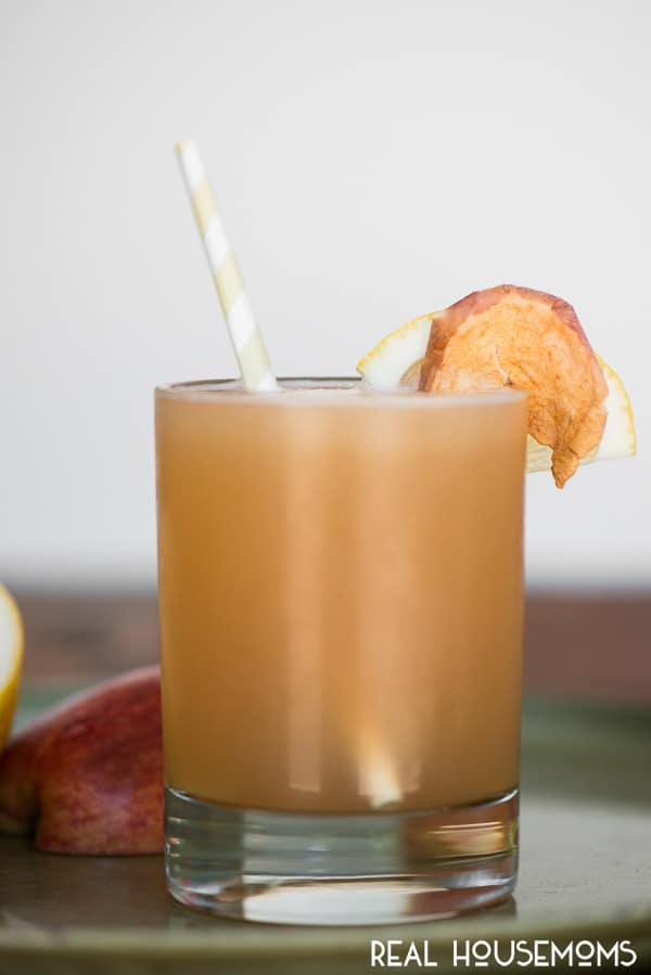 Apple Whiskey Sour in a rocks glass, garnished with a lice of fresh lemon and dried apple