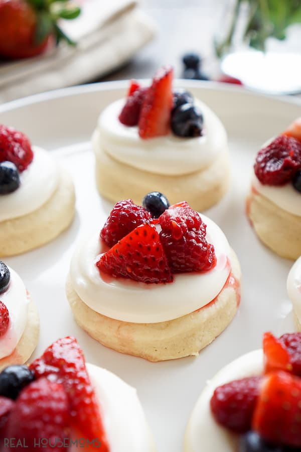 These BERRY SHORTCAKE COOKIES are everything you love about the classic summer dessert but in cookie form - no utensils required!