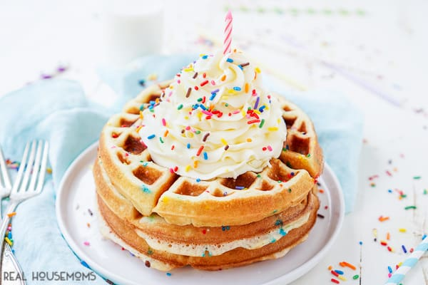 These BIRTHDAY CAKE WAFFLES are a fun way to kick off a day of celebration for that special someone! Made with cake mix, these waffles are an easy and sweet breakfast everyone will love!
