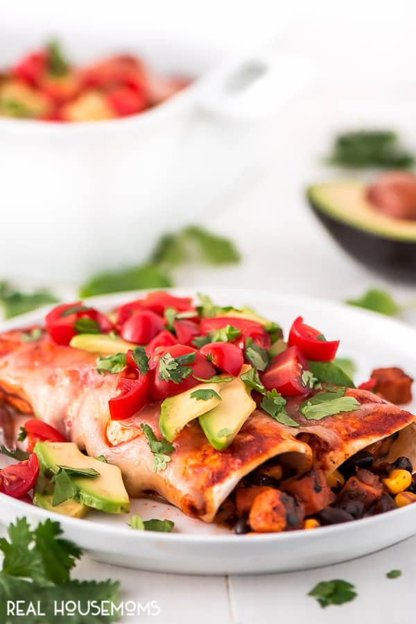 Black Bean and Sweet Potato Enchiladas plated and topped with diced tomatoes, avocado, and cilantro