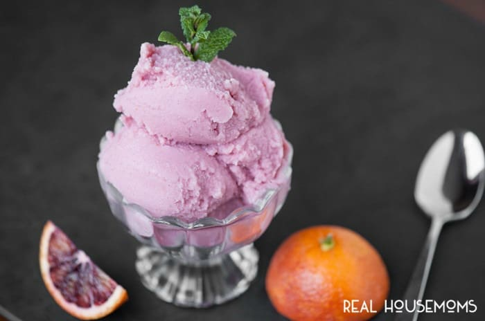 Four simple ingredients transform into this gorgeous, sweet, tangy and vibrant frozen dessert, creating a delicious BLOOD ORANGE BUTTERMILK SHERBET!