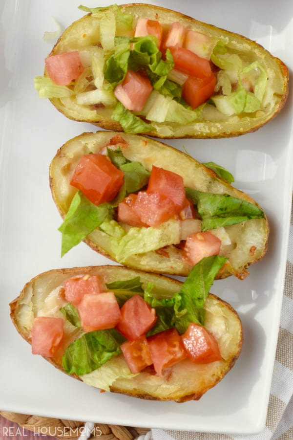 These BLT POTATO SKINS are crazy easy and make a perfect party appetizer with that classic flavor combo that's always a hit!