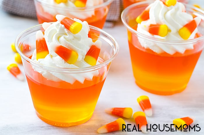 These CANDY CORN JELLO CUPS are an easy make-ahead treat that's perfect for Halloween parties or as a special fall snack!