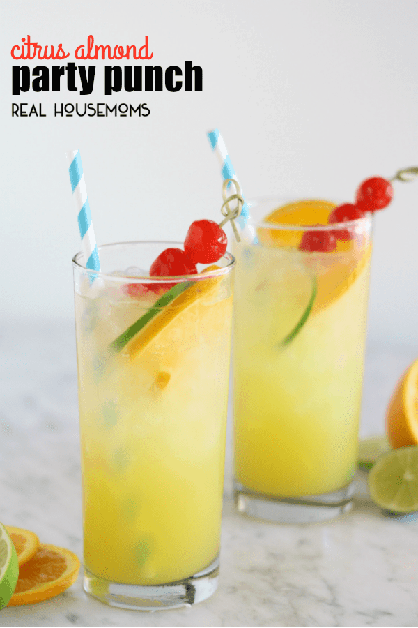 Crisp citrus flavors and a hint of almond make this CITRUS ALMOND PARTY PUNCH a refreshing hit at your next backyard barbecue!
