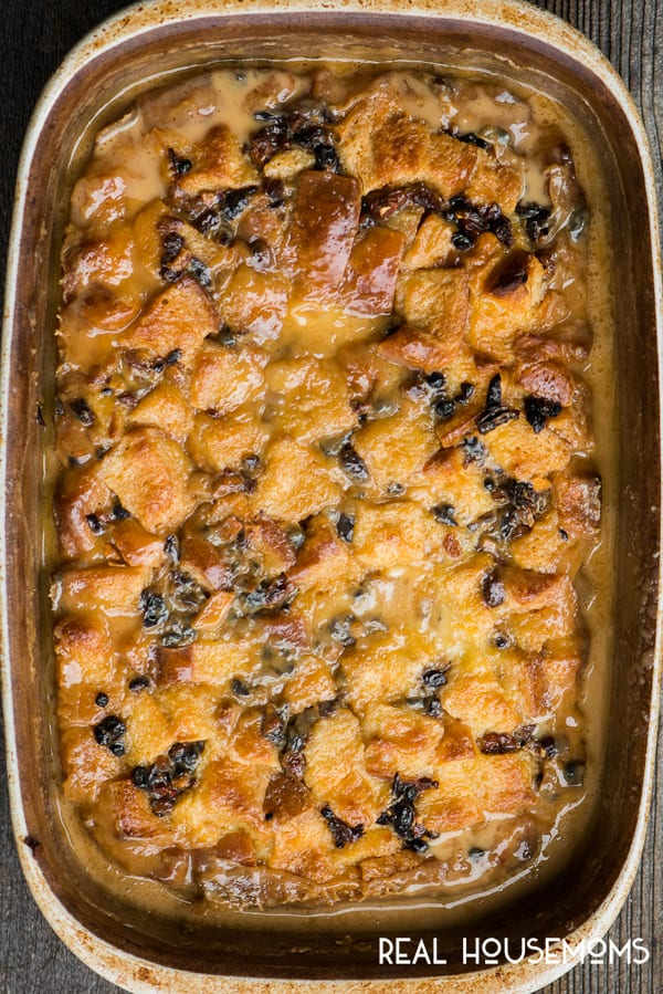 Classic Bread Pudding with Vanilla Caramel Sauce in a baking dish, fresh out of the oven.