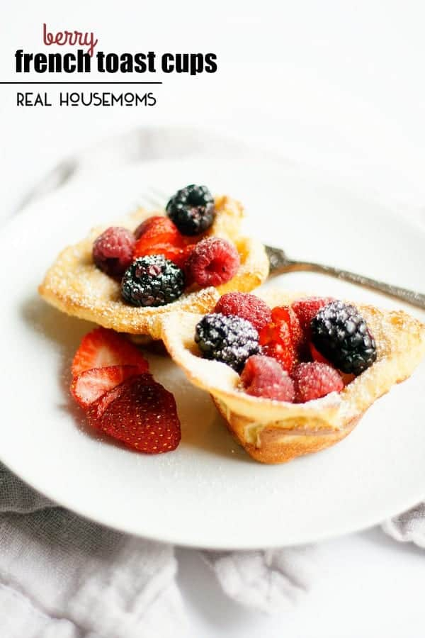 Baked in the oven, these BERRY FRENCH TOAST CUPS make brunch entertaining a breeze!