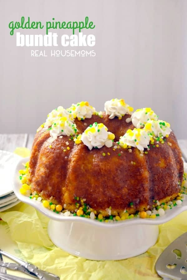 Enjoy a tropical burst of flavor with this semi-homemade GOLDEN PINEAPPLE BUNDT CAKE!