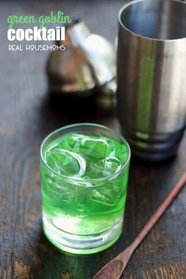 The GREEN GOBLIN COCKTAIL is a little fruity, a little tangy, and not at all scary!