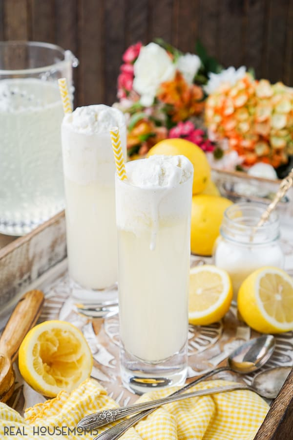 Homemade Lemonade Floats in collins glasses on a drink serving tray