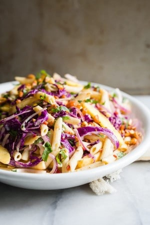 Pasta Salad with Mango Citrus Yogurt Dressing | Foodness Gracious