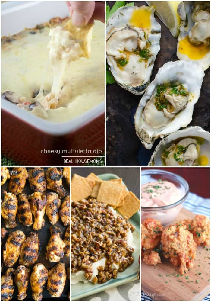 collage of mardi gras appetizers