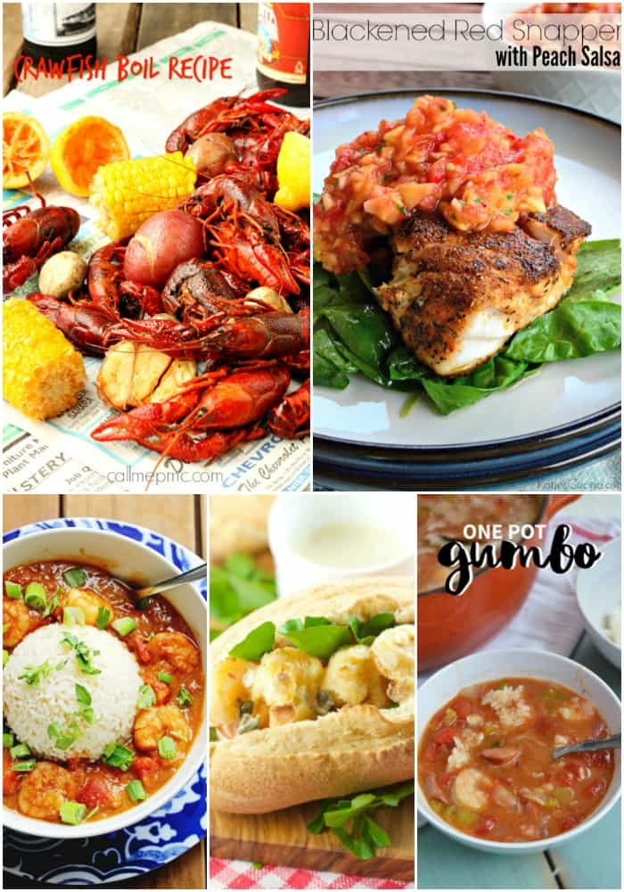 collage of mardi gras seafood recipes