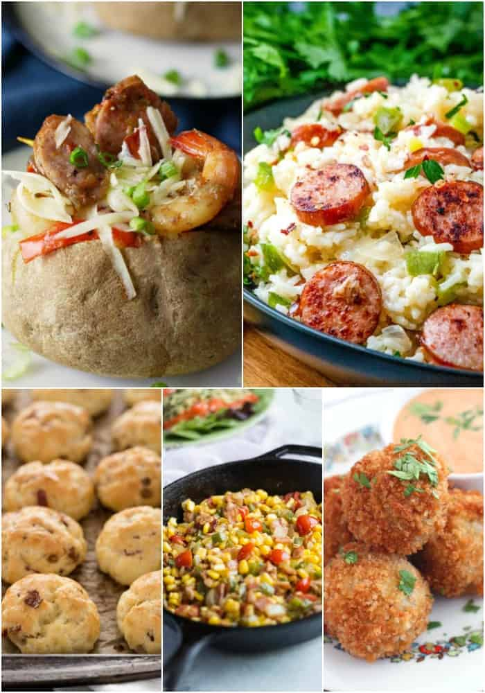 collage of mardi gras side dishes