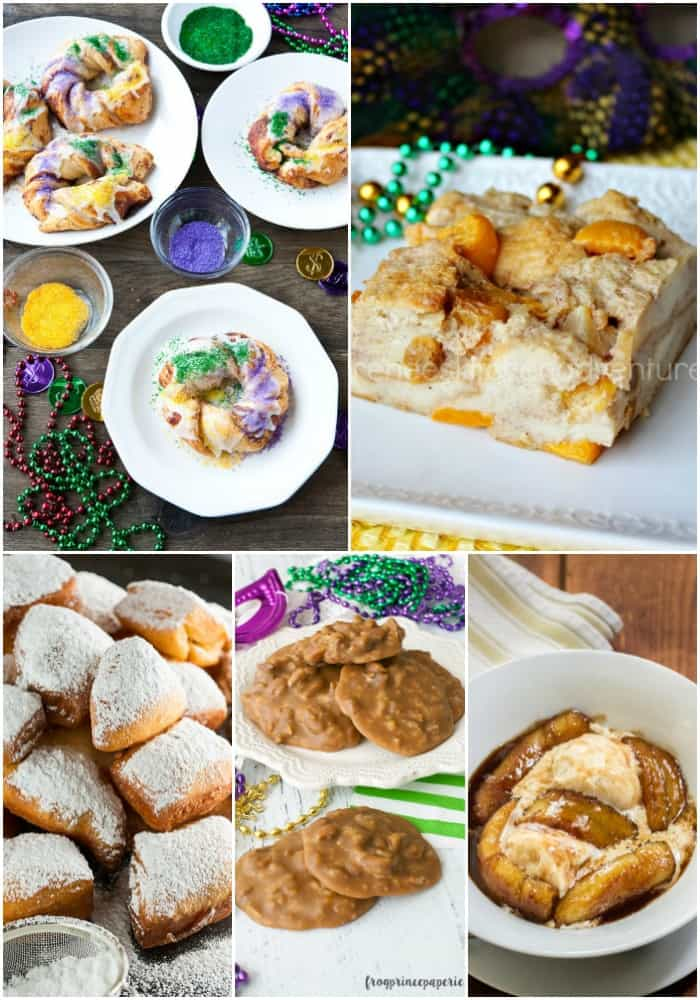 collage of mardi gras desserts