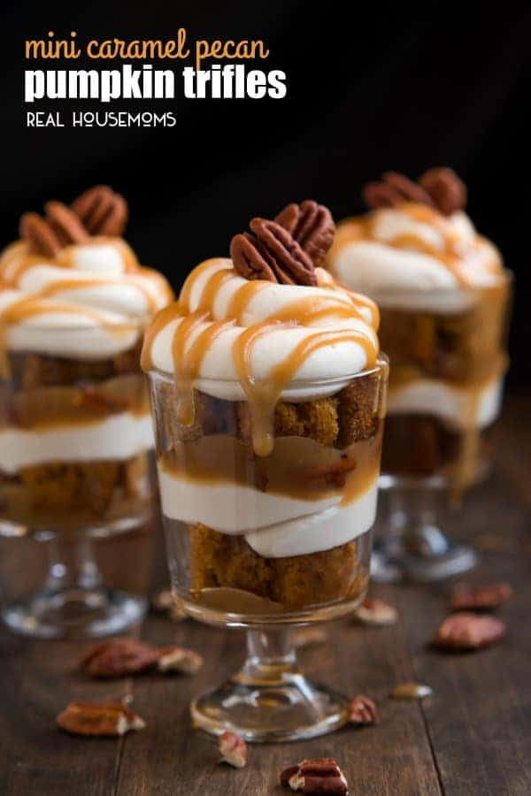 Dig into one of these heavenly MINI CARAMEL PECAN PUMPKIN TRIFLES layered with rich caramel, pecans, cheesecake filling, and pumpkin cake for fall dessert bliss!