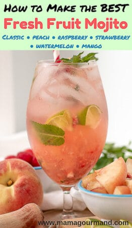 image of fresh fruit mojito with fruit and muddler laying next to it