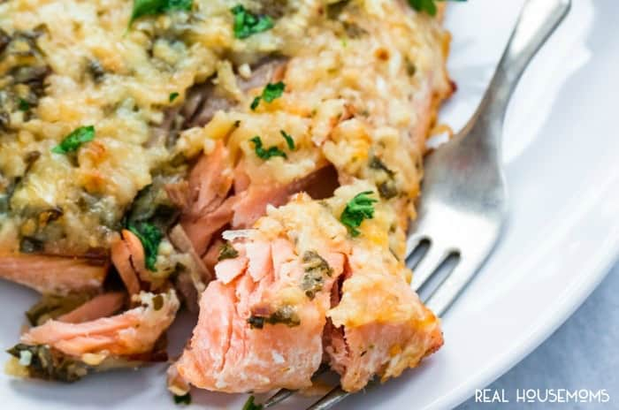 Easy 20-minute baked PARMESAN HERB SALMON with a savory parmesan cheese crust makes the perfect no-fuss weeknight meal!