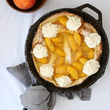 If you prefer a sweet breakfast to a savory one, then this PEACHES & CREAM DUTCHBABY is right up your alley. Or perhaps you prefer to eat your sweets after supper? Luckily for you, this dish doubles as a dessert!