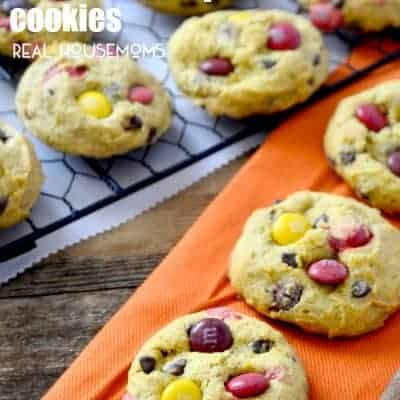 Pumpkin M&M Chocolate Chip Cookies