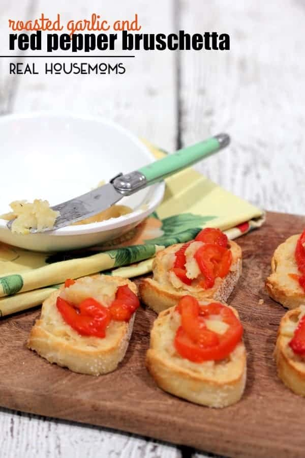 ROASTED GARLIC AND RED PEPPER BRUSCHETTA is the perfect appetizer. The flavors of nutty roasted garlic and red pepper burst in your mouth with every bite!