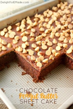 Chocolate Peanut Butter Sheet Cake by Delightful E Made