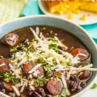 Slow Cooker Black Bean & Chorizo Soup is an easy-to-prep dinner with deep, rich flavors - perfect for a cozy night in!