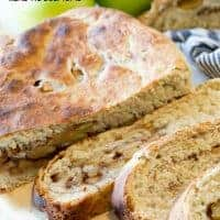 This Slow Cooker Cinnamon Apple Bread takes only 7 minutes prep time and then cooks in the slow cooker for an hour and a half for fresh, hot bread in under 2 hours with minimal work!