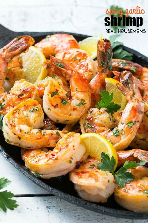 spicy garlic shrimp piled on a serving platter