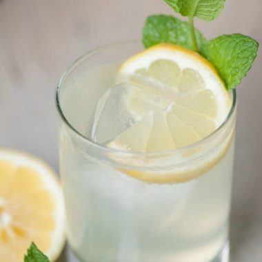 Sit back, relax, and beat the heat by enjoying a refreshing SUMMER VODKA FIZZ made with mint simple syrup, lemon, club soda, and vodka!