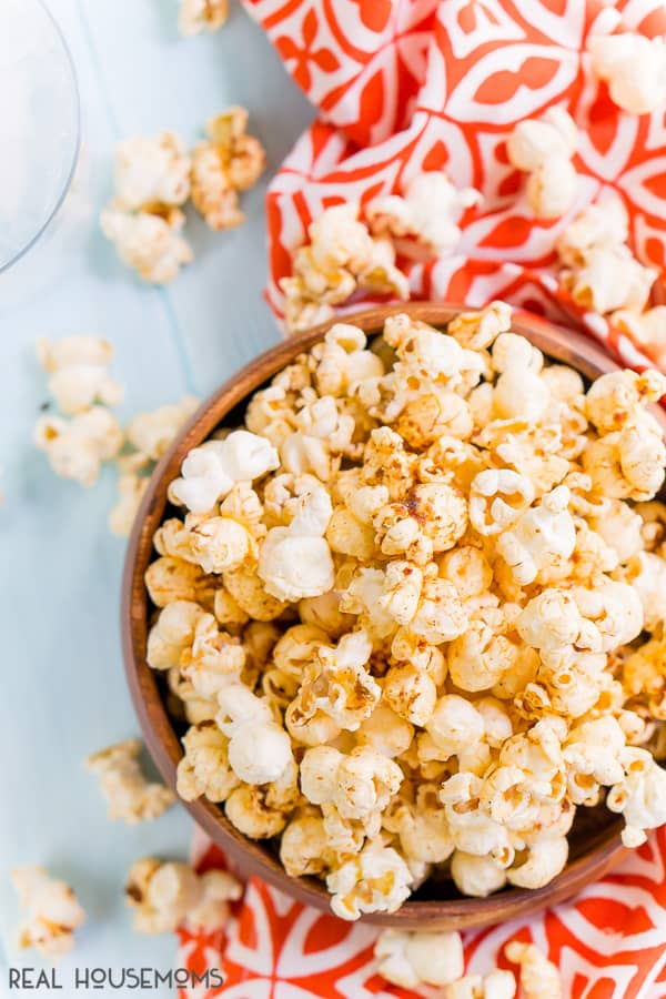 Overhead shot of Sweet and Smoky Popcorn in a wooden bowl