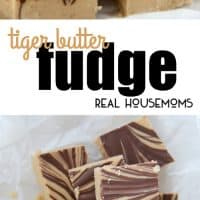 2 IMAGES OF chocolate peanut butter fudge