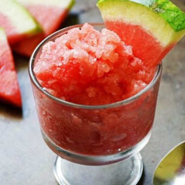 WATERMELON GRANITA is an easy recipe perfect to help you beat the heat this summer! It is cool, refreshing, and a tasty treat to have on hand when the temperatures start to rise!